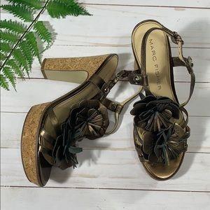 Marc Fisher Bronze Floral Cork Heels